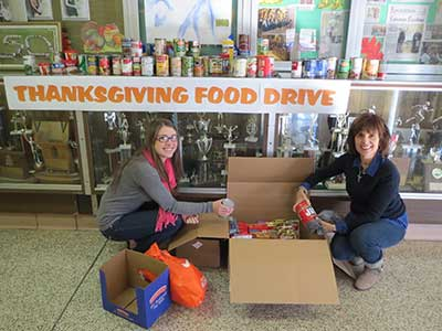 Collecting for the Thanksgiving Food Drive